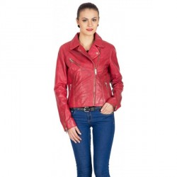 """Justanned Women Red Biker Leather Full Sleeves Jacket"