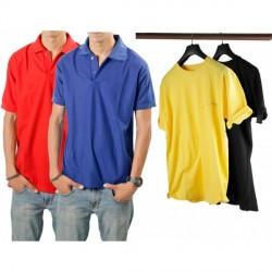 """Davie Jones Combo of Mens Two Polo T shirt and Two Round Neck T shirt"