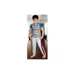 """""""BBA Smart Grey Striped Night Wear For Kids"""
