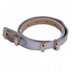"""Loto Gris Metallic Silver With Gold Buckle Belt"