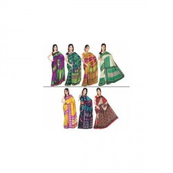"""Set of 7 Art Silk Sarees"