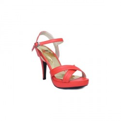 """FNB-Nell Cross Over Red Pencil Heel Sandals"
